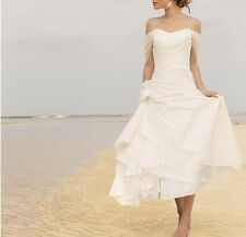 Off Shoulder Tea Length white/ivory Beach Wedding Dress Layers Gown Custom
