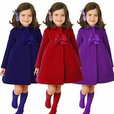 Kids Girls Winter Clothes Long Trench Coat Outerwear Bowknot Woolen Warm Jacket