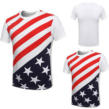 Stripes USA Flag Men's Stars American New Short Sleeve T Shirt Crew Neck