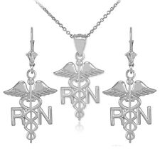 Sterling Silver Medical Registered Nurse Pendant Necklace & Matching Earrings