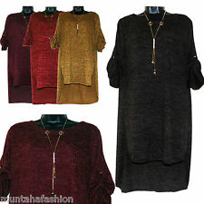 PLUS SIZE WOMENS ITALIAN LAGENLOOK WOOL JERSEY HI LOW TUNIC BOHO DRESS TOP 12-16