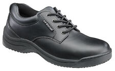 Skidbuster Womens Slip Resistant Oxford M Black Action Leather Shoes