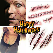 Halloween Temporary Scar Blood Tattoos Fancy Dress Sticker Realistic Wound Scab