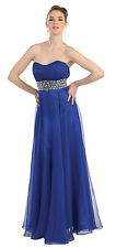 Long Prom Dresses Sequins Chiffon Strapless Ruched Bodice Formal Evening Gown