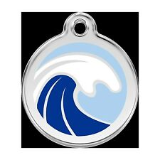 Red Dingo Stainless Steel & Enamel Waves Dog ID Tag