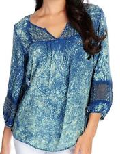 NEW - One World Woven 3/4 Sleeved Dot Lace Detail Peasant Top