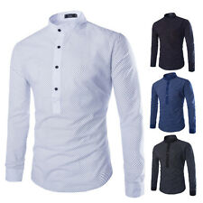 NEW Men's Slim Fit Full Dot Pattern Half Button Placket Long Sleeve Shirts Tops