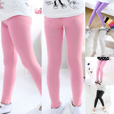 New Plain Children Girls Kids Solid Candy Color Pants Trousers Leggings Age 4-13