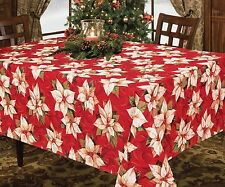 Christmas Holiday Decorative Fabric Tablecloth, White - Red Poinsettia, Cherub