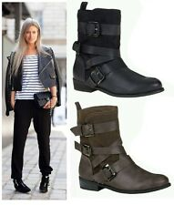 NEW LADIES FAUX SUEDE / LEATHER FASHION PIXIE ANKLE BOOTS FLATS SHOES UK SIZE