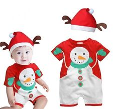 Baby Boy Girl Summer Christmas Xmas Snowman Outfit Costume Dress+Hat Clothes Set