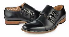 Men Triple Monk Straps Cap Toe Side Zipper Slip On Loafers Dress Shoes Black