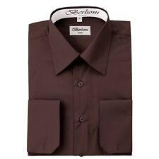 Berlioni Italy Solid Mens Dress Shirt Italian French Convertible Cuff - Brown