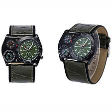 OULM 4094 Cool Military Army Quartz Wrist Watch Leather Band Sports Mens Boy