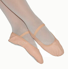 PINK LEATHER BALLET SHOES Pre-Sewn Elastics Full Sole DANCING DAISY Post FREE