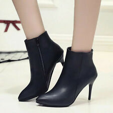 Fashion Womens Pointed Toe High Heel Stiletto Side Zip Sexy Ankle Boots Shoes
