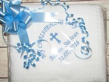 Personalised Baby Christening Baptism Shawl Blanket Embroidered Keepsake Gift