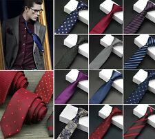 Skinny Slim Men's Tie Jacquard Woven Silk Necktie Party Wedding Tie