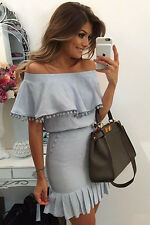 Fancy Women Dress Delightful Blue Pom Pom Trim Overlay Off Shoulder Mini Dress
