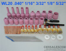 62 pcs TIG Welding Torch Gas Lens Collet Body Nozzle Tungsten Kit WP-17/18/26