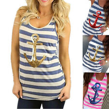 Stylish Women Sleeveless  Stripped  Casual  Tank Top Sequins  Backless  New