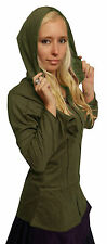 LONG POINTY MEDIEVAL HOOD HOODED COTTON JACKET TOP S M L 10 12 14 16 PIXIE BOHO