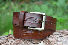 Cristopher Handmade Full Grain Brown Leather Belt fitted with roller Buckle