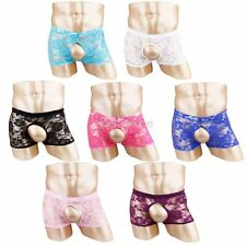 Sexy Men Shorts Boxer Brief Lace Thongs Sissy Pouch Panties Crossdress Underwear