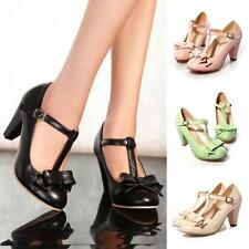 Lolita Womens Mary Jane T-Strap Bar Bow Tie Dress Pump High Heel Shoes All US SZ