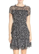 NWT $168 French Connection Ruffled Chiffon Daisy Rave Frilly Dress Black 0 4