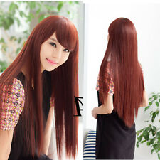 New fashion charming womens straight long hair full wigs cosplay party brown wig