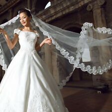 3 Meters Long Lace Edge Cathedral Wedding Gown Bridal White Tulle Veil KG