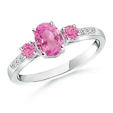 1.25 ctw Oval Natural Pink Sapphire Three Stone Ring with Diamond 14k White Gold