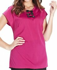 New Simply Be plus size 20 22 30 32 Pink & Black Triple Bow Blouse Top Tunic