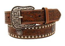 Ariat Western Mens Belt Leather Embossed Studded Floral Brown A1024802