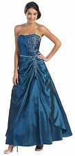 TheDressOutlet Prom Dress Plus Size Long Strapless Taffeta Ruched Formal Gown