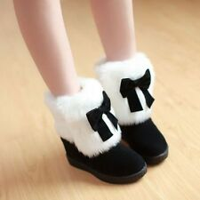 Womens Sweet Bowknot Hidden Wedge Heel Fur Furry Warm Winter Ankle Boots Shoes
