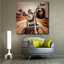 Motorcycle With Helmet On The Road Canvas Art Poster Print Home Wall Decor