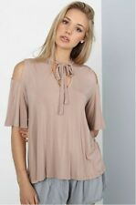 POL CLOTHING COLD SHOULDER STRAP N' TIE COLLAR TOP BACK STRAPPING DETAIL BLOUSE