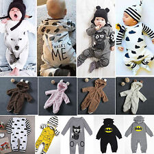 Newborn Baby Boys Girls Clothes Long Sleeve Bodysuit Romper Jumpsuit Hat Outfits