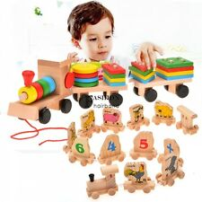 Toddle Baby Kid Wooden Toys Stacking Train Geometric Stacker Building FNHB