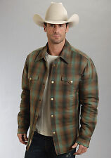 Stetson Mens Green Cotton Blend Flannel Western Snap Jacket Quilted Nylon