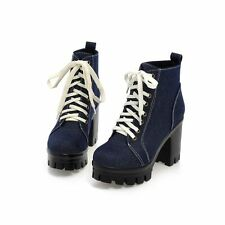 Womens Denim Platform Canvas Punk Vintage New High Block Heel Ankle Boots Shoes