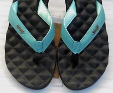 REEF Flip Flops DREAMS Womens Sz 11 BLACK & LIGHT BLUE Sandals New Shoes