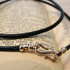 LEATHER NECKLACE VINTAGE BLACK - cord 2mm - bronze clasp