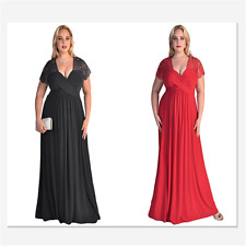 Patchwork Sexy Lace Yoke Ruched Twist High Waist Plus Size Gown Women Dress