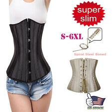 Womens Slim Waist Training Cincher Underbust Sprial Steel Boned Shaper Corset LB