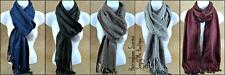 NEW NWT BOUTIQUE HERRINGBONE TASSEL SCARF BLACK WHITE GRAY ROYAL BROWN BURGUNDY