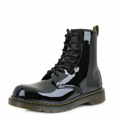Dr Martens Delaney Youth Girls Black Patent Lamper Ankle Boots Shu Size