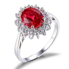 JewelryPalace 3ct Oval Pigeon Blood Red Ruby Ring 925 Sterling Silver Gift